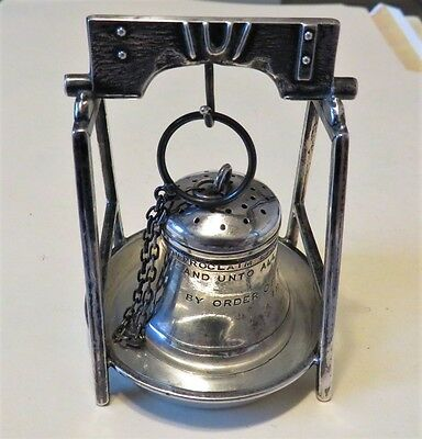 Antique Webster sterling silver Liberty Bell  tea ball with matching  stand