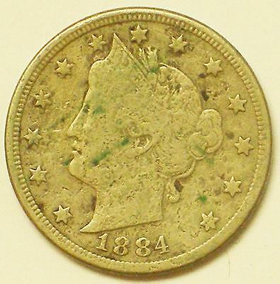 1884 5C Liberty or V Nickel Coin