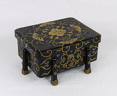 Japanese Lacquered Wood Hasamibako Box 19th century Meiji Period