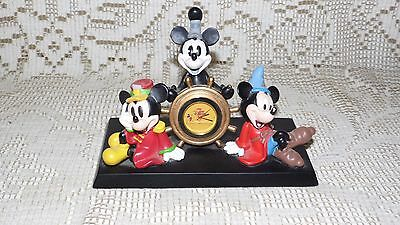 Disney Mickey Mouse 75 Years Of Love And Laughter Desk Clock Works Great! Usa