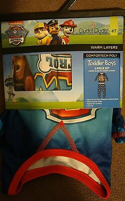 cuddl duds paw patrol base layer/thermals set size 4t