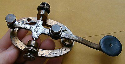 Early Antique Oval Base Brass Telegraph Key J.h. Bunnell Pat Feb 15 1881 # 9040?