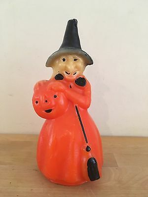 "Vintage Halloween UNUSED 8"" Gurley Candle WITCH w/ JACK O'LANTERN PUMPKIN"