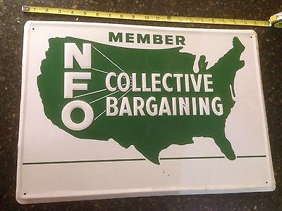 Vintage NFO Collective Bargaining Embossed Metal Sign National Farmer Farm Tin