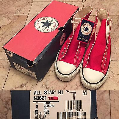 Vintage Vtg Deadstock NOS Converse Chuck Taylor Shoes Hi Red Mens 7 Womens 9 USA