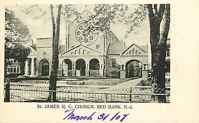 Red Bank, St James Catholic Church, New Jersey, Vintage Postcard