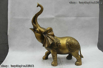 """18""""Chinese Folk Pure Bronze excellent Lucky Lifelike peacock elephant Statue"""