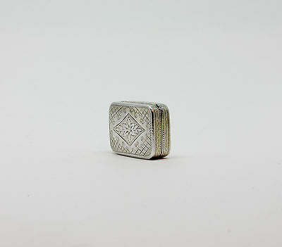 Antique Georgian Bright Cut Sterling Silver Vinaigrette 1805