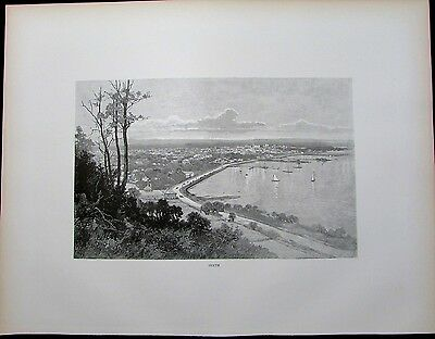 Perth Australia early panoramic town city view 1888 scarce large antique print
