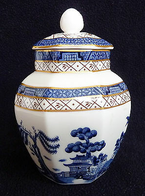 Booths Real Old Willow Blue & White China 14 cm Octagonal Trinket Jar / Box VGC