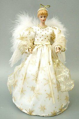 New Angel Tree Topper Gift Xmas Decor Collect Snowflake Bowknot White Dress Wing