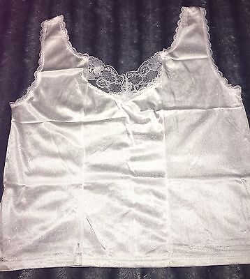 Vintage Gorgeous WOMENS White SIZE Large HALF SLIP CAMISOLE TOP Lace Neck