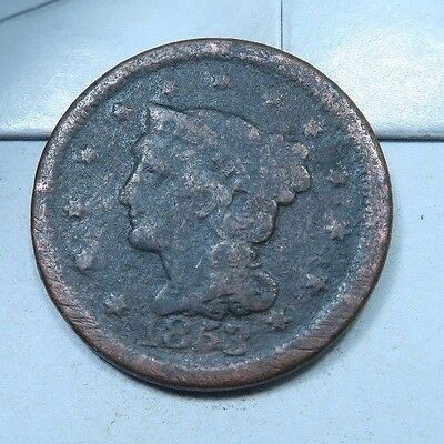 1853 Braided Hair Large Cent // LOW MINTAGE! // (LC803)