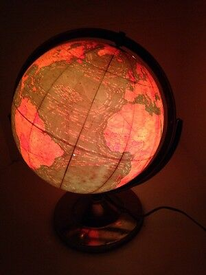 "Vintage George F. Cram 12"" Terrestrial Globe Lighted W/ Base"