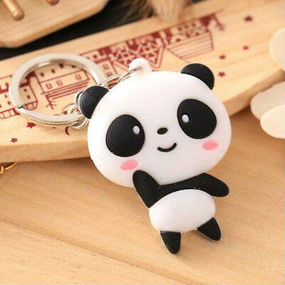 Cute Silicone Cartoon Panda Keychain Keyring Bag Kawaii Pendant Key Ring Chain #