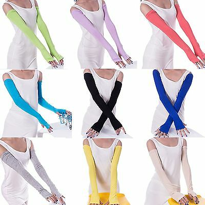 20 Candy Multifunctional Cosy Sunscreen Women Long Fingerless Gloves Arm