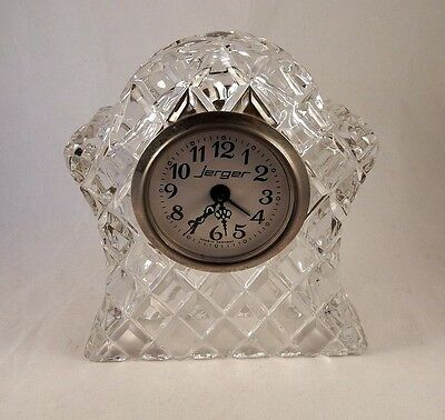 Jerger Crystal Cut Glass Dressing Table Wind Up Clock Made in Germany