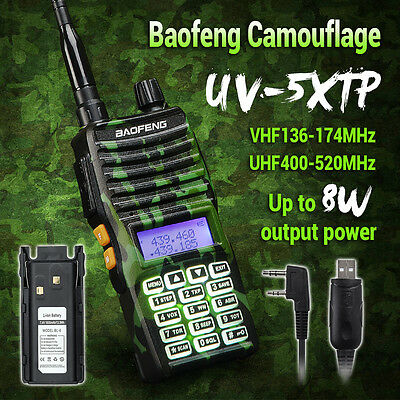 Baofeng UV5XTP 8W VHF/UHF Ham Walkie Talkie CTCSS Transceiver+ Cable+ 2xBattery