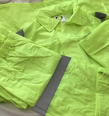 Hi Vis Waterproof Set Jacket & Pants With Reflective Tape Size 2Xl