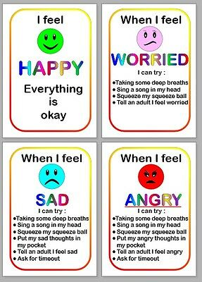 FEELINGS FLASH CARDS set of 4 great for home or classroom autism/aspergers/SEN