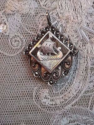 Antique Silver & Marcasite Gold Overlay Viking Long Boat Brooch / Pendant
