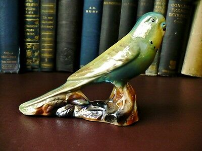 1940's/50's Retro Keele Street Pottery - Green/Yellow Lustre Budgerigar -