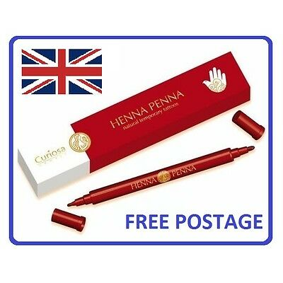 Henna Penna Natural Temporary Tattoos - Thick/Thin Two Ended Pen, easily applied