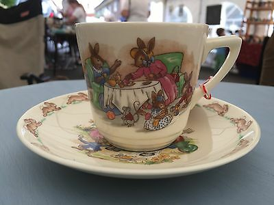 Vintage Bunnykins Royal Doulton Cup And Saucer Perfect Christening Present