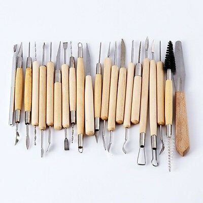 20PCS/Set Handle Clay Sculpture Tool Pottery Polymer Clay Sculpting Stainless St