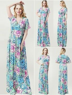 Maternity Evening dress,Baby Shower Wedding Bridal Maxi,Plus size Floral Aqua