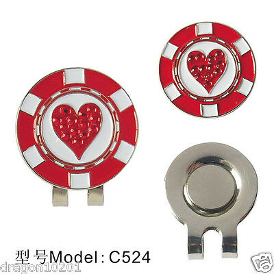 Lovely Red Hearts with diamond golf ball marker with magnetic clip Wholesale