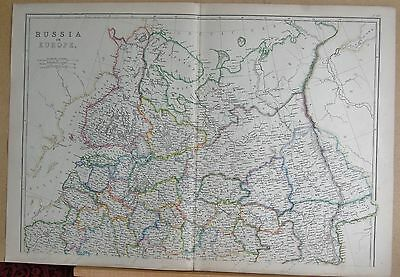 1860  Large Antique Map - Russia In Europe