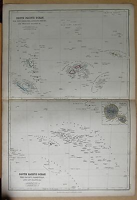 1860  Large Antique Map - New Hebrides, Loyalty, Fiji, Friendly, Society, Marque