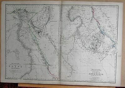 1860  Large Antique Map - Nile Valley, Egypt, Nubia & Abyssinia