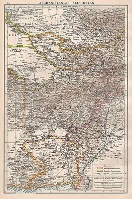 1896  Large Antique  Map : Afganistan And Baluchistan