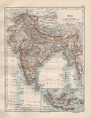 1920 Vintage Map- India