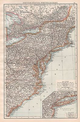 1896  Large Antique  Map : United States North Eastern