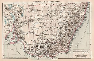 1896  Large Antique  Map : Victoria And New South Wales