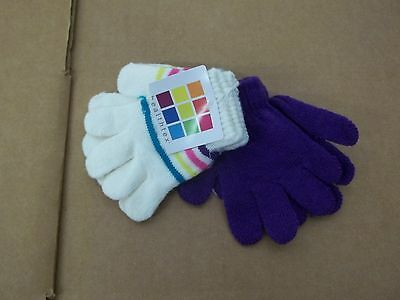NWT Healthtex Baby Girls 2 Pack Gloves-Solid Purple-White Striped