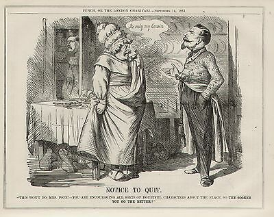 Vintage Cartoon Punch 1861 Italy Italian Unification King Francis of Sicily 8x10
