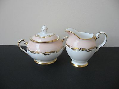 Vtg TUSCAN BONE CHINA SALMON PINK BAND GOLD SCROLLS SUGAR BOWL & CREAMER SET