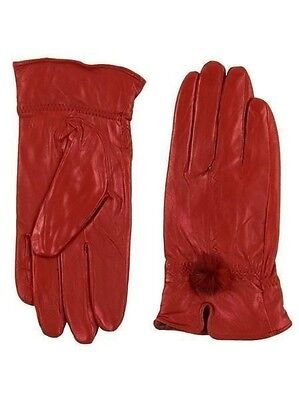 New Womens Ladies 100% Leather Soft Patent Red Vintage Style Gloves size M/L