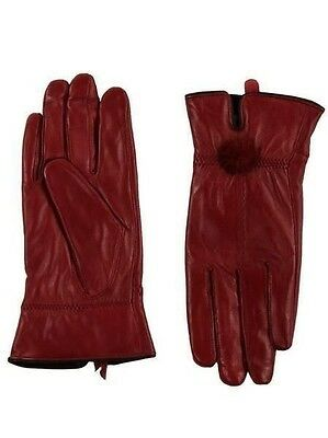 New Women Ladies 100% Leather Soft Patent Burgundy Vintage Style Gloves size S/M