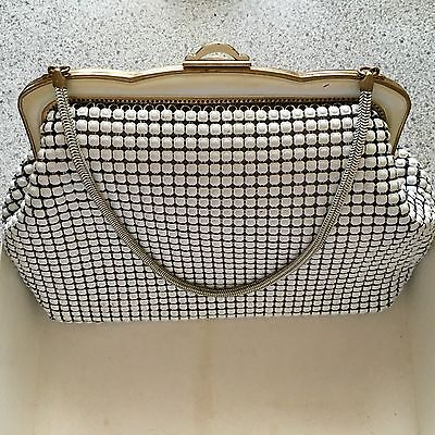 Womens Vintage White Oroton Mesh Clutch  Bag (lined)