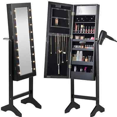 Full Length Freestanding Mirror Black with LED Lights Jewellery Cabinet
