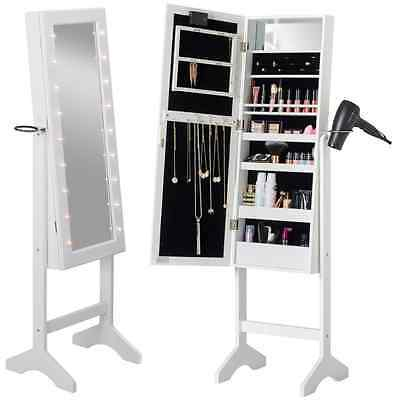 Full Length Freestanding Mirror White with LED Lights Jewellery Cabinet