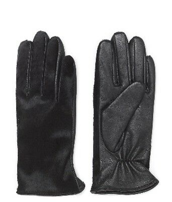 Whistles Women's 100% Leather With Faux Pony Fur, Black Gloves Size S. BNWT