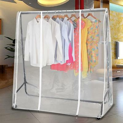 5ft Clear Zipped Clothes Rail Cover Hanging Garment Storage Display Hanging Rail