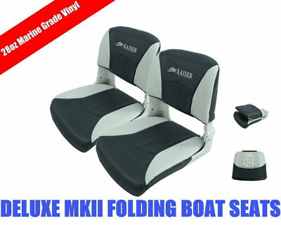 2x Deluxe MKII 28oz Marine Grade Vinyl Folding White/Charcoal Boat Seat