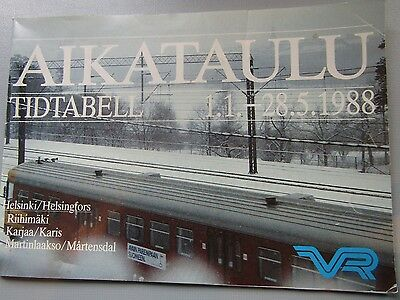 Aikataulu Tidtabell Finland Timetable 1/1/ - 28/5/1988